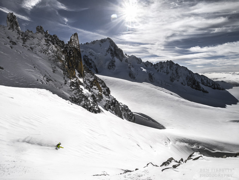 Autumn ski mountaineering aiguille du tour chamonix