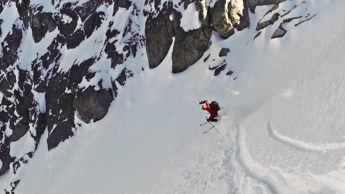 Skiing Genepi N Couloir